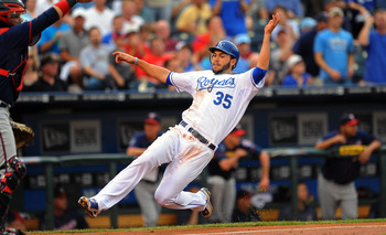 KANSAS CITY, MO - JUNE 2:  Eric Hosmer #35 of the Kansas City Royals slides in to score a run in the first inning against the Minnesota Twins at Kauffman Stadium on June 2, 2011 in Kansas City, Missouri. (Photo by G. Newman Lowrance/Getty Images)