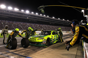 FORT WORTH, TX - APRIL 09:  Paul Menard pits the #27 Quaker State/Menards Chevrolet during the NASCAR Sprint Cup Series Samsung Mobile 500 at Texas Motor Speedway on April 9, 2011 in Fort Worth, Texas.  (Photo by Jason Smith/Getty Images for NASCAR)