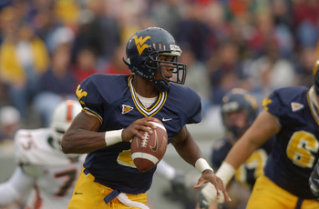 MORGANTOWN, WV - OCTOBER 26:  WVU quarterback Rasheed Marshall #2 looks for a reciever during the NCAA football game against the Miami Hurricanes at Mountaineer Field in Morgantown, West Virginia on October 26, 2002.  The University of Miami (Florida) Hur