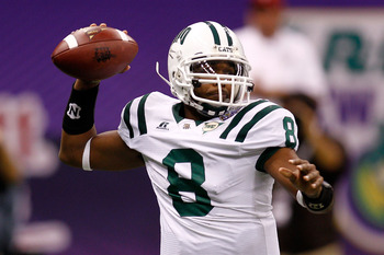 NEW ORLEANS, LA - DECEMBER 18:  Quarterback Boo Jackson #8 of the Ohio University Bobcats throws a pass during the game against the Troy University Trojans  during the R&L Carriers New Orleans Bowl at the Louisiana Superdome on December 18, 2010 in New Or