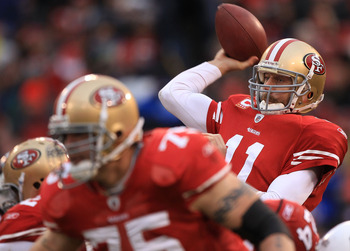 SAN FRANCISCO, CA - JANUARY 02:    Alex Smith #11 of the San Francisco 49ers passes against the Arizona Cardinals during an NFL game at Candlestick Park on January 2, 2011 in San Francisco, California.  (Photo by Jed Jacobsohn/Getty Images)