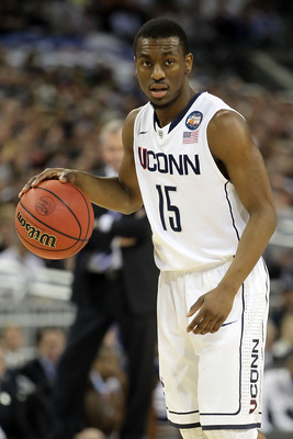 HOUSTON, TX - APRIL 04:  Kemba Walker #15 of the Connecticut Huskies handles the ball against the Butler Bulldogs during the National Championship Game of the 2011 NCAA Division I Men's Basketball Tournament at Reliant Stadium on April 4, 2011 in Houston,