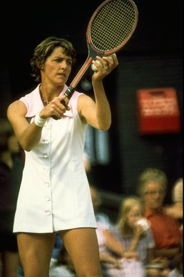 Undated:  Margaret Court serves during a Tennis match. \ Mandatory Credit: Tony  Duffy/Allsport