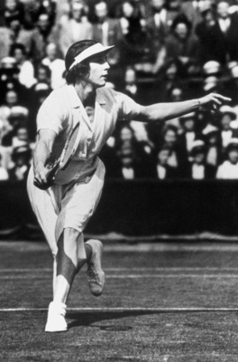 1924: Helen Wills Moody runs to the ball during a match circa 1924  in Paris, France. Helen Wills Moody wins the gold for womens singles event. (Photo by Getty Images)