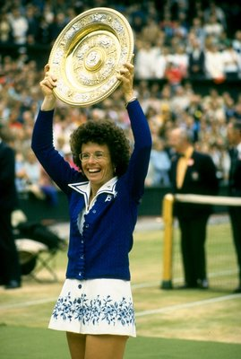 Jun-Jul 1975:  Billie Jean King of the USA holds the trophy aloft after the Lawn Tennis Championships at Wimbledon in London. King won the Women's Singles event. \ Mandatory Credit: Allsport UK /Allsport