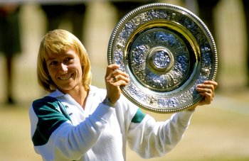 Jul 1987:  Martina Navratilova of the USA holds up the winner plate after winning the Wimbledon Championships played at Wimbledon, London, England.  \ Mandatory Credit: Allsport UK /Allsport