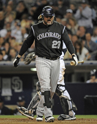 SAN DIEGO, CA - JUNE 7: Jason Giambi #23 of the Colorado Rockies reacts after striking out during the ninth inning of a baseball game against the San Diego Padres at Petco Park on June 7, 2011 in San Diego, California.The Padres won 2-0.   (Photo by Denis