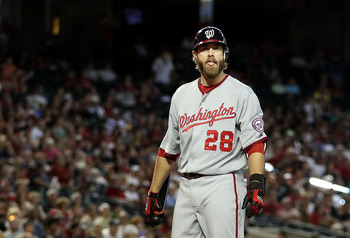 PHOENIX, AZ - JUNE 05:  Jayson Werth #28 of the Washington Nationals looks to his bench as he bats against the Arizona Diamondbacks during the Major League Baseball game at Chase Field on June 5, 2011 in Phoenix, Arizona. The Nationals defeated the Diamon