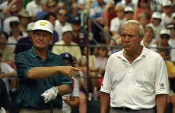 1993:  Jack Nicklaus of the USA points to Arnold Palmer also of the USA during the US Open at Oakmont Country Club in Pennsylvania, USA. \ Mandatory Credit: Gary  Newkirk/Allsport