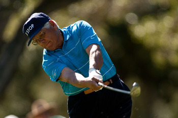 SAN ANTONIO, TX - OCTOBER 29: Lee Trevino follows through on a tee shot during the first round of the AT&T Championship at Oak Hills Country Club on October 29, 2010 in San Antonio, Texas. (Photo by Darren Carroll/Getty Images)