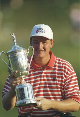 15 Jun 1997: Ernie Els poses with the Daises Trophy after the U. S. Open at the Congressional Country Club in Bethesda, Maryland.