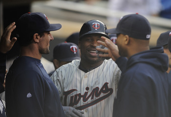 MINNEAPOLIS, MN - JUNE 9: Delmon Young #21 of the Minnesota Twins celebrates a solo home run against the Texas Rangers during the second inning of their game on June 9, 2011 at Target Field in Minneapolis, Minnesota. (Photo by Hannah Foslien/Getty Images)