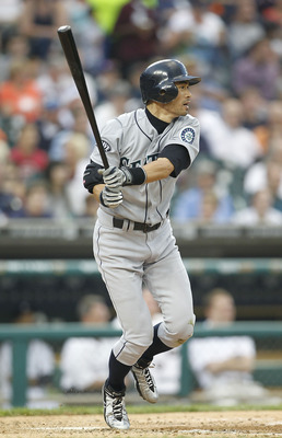 DETROIT - JUNE 11: Ichiro Suzuki #51 of the Seattle Mariners triples to deep center field in the sixth inning during the game against the Detroit Tigers at Comerica Park on June 11, 2011 in Detroit, Michigan. The Tigers defeated the Mariners 8-1. (Photo b