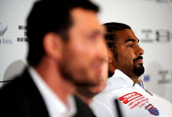 LONDON, ENGLAND - MAY 10:  David Haye listens to Wladimir Klitschko during the David Haye v Wladimir Klitschko Press Conference at the Park Plaza Hotel on May 10, 2011 in London, England.  (Photo by Christopher Lee/Getty Images)