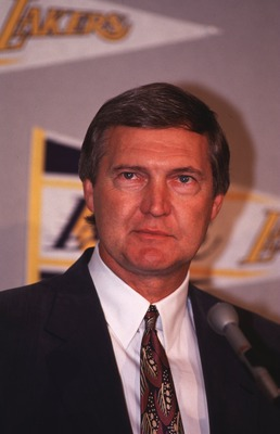 18 May 1992:  General manager Jerry West of the Los Angeles Lakers addresses the media at a press conference in Los Angeles, California.     Mandatory Credit: Ken Levine/Allsport