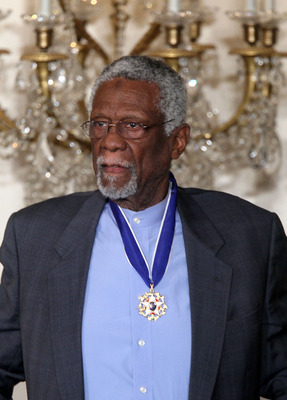 WASHINGTON, DC - FEBRUARY 15:  Former Boston Celtics captain Bill Russell is presented with the 2010 Medal of Freedom during an East Room event at the White House February 15, 2011 in Washington, DC. Obama presented the medal, the highest honor awarded to