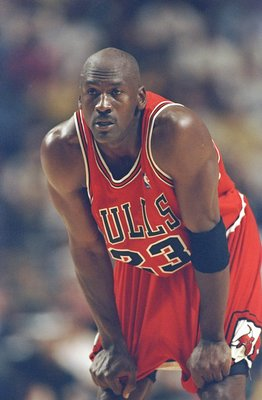 23 May 1998: Michael Jordan #23 of the Chicago Bulls looks on during an Eastern Conference Final game against the Indiana Pacers at the Market Square Arena in Indianapolis, Indiana. The Pacers defeated the Bulls 107-105.