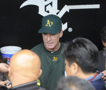 CHICAGO, IL - JUNE 11: Bob Melvin #6 of the Oakland Athletics talks to the media before the game against the Chicago White Sox on June 11, 2011 at U.S. Cellular Field in Chicago, Illinois.  (Photo by David Banks/Getty Images)