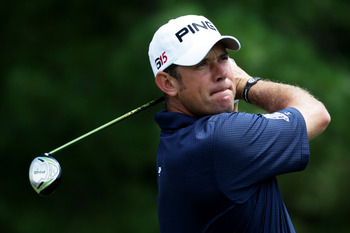 BETHESDA, MD - JUNE 13:  Lee Westwood of England  hits a shot during a practice round prior to the start of the 111th U.S. Open at Congressional Country Club on June 13, 2011 in Bethesda, Maryland.  (Photo by Ross Kinnaird/Getty Images)