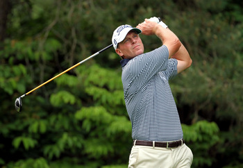 DUBLIN, OH - JUNE 05:  Steve Stricker hits his tee shot on the par 4 13th hole during the final round of the Memorial Tournament presented by Nationwide Insurance at Muirfield Village Golf Club on June 5, 2011 in Dublin, Ohio.  (Photo by Andy Lyons/Getty