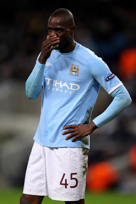 MANCHESTER, ENGLAND - FEBRUARY 24:  Mario Balotelli of City reacts during the UEFA Europa League round of 32 second leg match between Manchester City and Aris Saloniki at City of Manchester Stadium on February 24, 2011 in Manchester, England.  (Photo by A