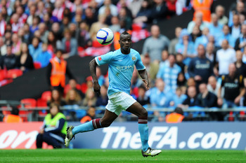 LONDON, ENGLAND - MAY 14: Mario Balotelli of Manchester City controls the ball during the FA Cup sponsored by E.ON Final match between Manchester City and Stoke City at Wembley Stadium on May 14, 2011 in London, England. (Photo by Mike Hewitt/Getty Images