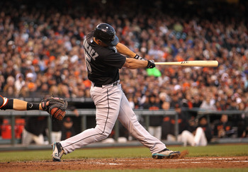 SAN FRANCISCO, CA - MAY 24:  Gaby Sanchez #15 of the Florida Marlins hits a three-run double in the third inning against the San Francisco Giants at AT&T Park on May 24, 2011 in San Francisco, California.  (Photo by Ezra Shaw/Getty Images)
