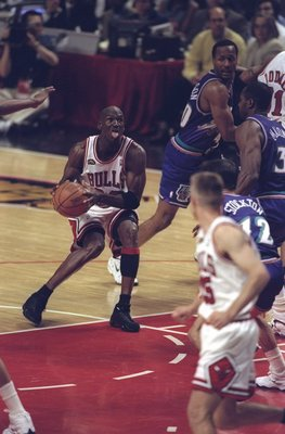 10 Jun 1998:  Michael Jordan #23 of the Chicago Bulls in action during the NBA Finals Game 4 against the Utah Jazz at the United Center in Chicago, Illinois.  The Bulls defeated the Jazz 86-82. Mandatory Credit: Jonathan Daniel  /Allsport