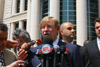 ST. LOUIS, MO - JUNE 3: Theodore Olson, lawyer for the National Football League Players Association (NFLPA), addresses the media outside the Thomas F. Eagleton U.S. Federal Courthouse after the NFL lockout hearing on June 3, 2011 in St. Louis, Missouri. N