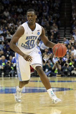 NEWARK, NJ - MARCH 27:  Harrison Barnes #40 of the North Carolina Tar Heels dribbles the ball during the second half of the game against the Kentucky Wildcats in the east regional final of the 2011 NCAA men's basketball tournament at Prudential Center on
