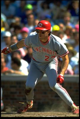 1991:  CINCINNATI REDS BATTER HAL MORRIS RUNS TO FIRST BASE AFTER MAKING CONTACT WITH A PITCH, DURING THE REDS VERSUS CHICAGO CUBS GAME AT WRIGLY FIELD IN CHICAGO, ILLINOIS.