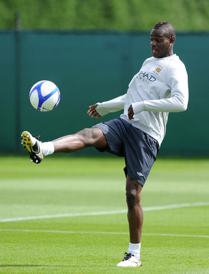 MANCHESTER, ENGLAND - MAY 12:  Mario Balotelli of Manchester City in action during a training session at Carrington Training Ground on May 12, 2011 in Manchester, England.  (Photo by Chris Brunskill/Getty Images)