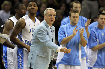 CHARLOTTE, NC - MARCH 20:  Head coach Roy Williams of the North Carolina Tar Heels reacts in the first half while taking on the Washington Huskies during the third round of the 2011 NCAA men's basketball tournament at Time Warner Cable Arena on March 20,