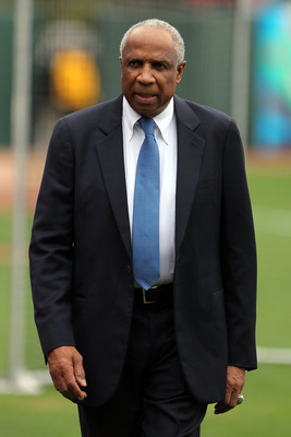 SAN FRANCISCO - OCTOBER 28:  Hall of Famer Frank Robinson on the field before Game Two of the 2010 MLB World Series between the Texas Rangers and the San Francisco Giants at AT&T Park on October 28, 2010 in San Francisco, California.  (Photo by Doug Pensi