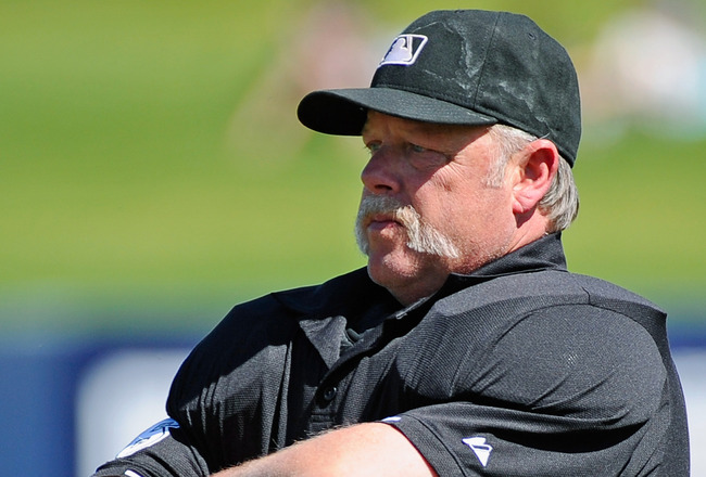 PHOENIX, AZ - MARCH 10:  Umpire Jim Joyce before the start of the spring training baseball game between the Coloroda Rockies and Milwaukee Brewers at Maryvale Baseball Park on March 10, 2011 in Phoenix, Arizona.  (Photo by Kevork Djansezian/Getty Images)