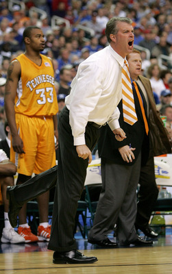 ATLANTA - MARCH 11:  Head coach Buzz Peterson of the Tennessee Volunteers reacts to a call in the game against the Kentucky Wildcats during the quarterfinals of the SEC Men's Basketball Tournament at the Georgia Dome on March 11, 2005 in Atlanta, Georgia.
