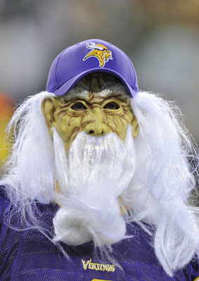 GREEN BAY, WI - OCTOBER 24:  A Minnesota Vikings fan watches pregame warmups against the Green Bay Packers at Lambeau Field on October 24, 2010 in Green Bay, Wisconsin. (Photo by Jim Prisching/Getty Images)