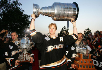 ANAHEIM, CA - JUNE 9:  Chris Pronger #25 of the Anaheim Ducks celebrates winning the 2007 Stanley Cup during the 'Anaheim Ducks Stanley Cup Victory Celebration' June 9, 2007 at Honda Center in Anaheim, California.  (Photo by Jeff Gross/Getty Images)