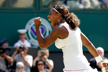 LONDON, ENGLAND - JULY 03:  Serena Williams of USA celebrates a point during the Ladies Singles Final Match against Vera Zvonareva of Russia on Day Twelve of the Wimbledon Lawn Tennis Championships at the All England Lawn Tennis and Croquet Club on July 3