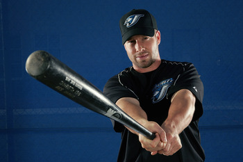 DUNEDIN, FL - FEBRUARY 25:  Shea Hillenbrand of the Blue Jays poses for a portrait during the Toronto Blue Jays Photo Day at the Bobby Mattick Training Center on February 25, 2006 in Dunedin, Florida. (Photo by Nick Laham/Getty Images)