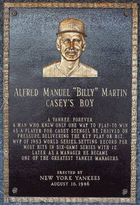NEW YORK - MAY 02:  The plaque of Billy Martin is seen in Monument Park at Yankee Stadium prior to the game between the New York Yankees and the Chicago White Sox on May 2, 2010 in the Bronx borough of New York City. The Yankees defeated the White Sox 12-