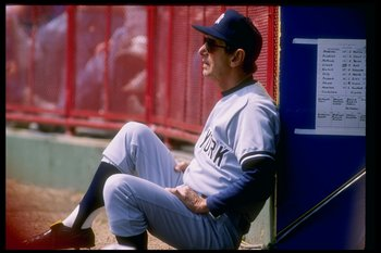 Billy Martin of the New York Yankees looks on during a game.