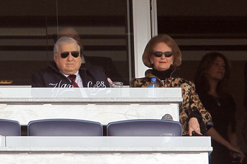 NEW YORK - APRIL 13:  Team owner George Steinbrenner and his wife Joan watch the New York Yankees play against  of the Los Angeles Angels of Anaheim during the Yankees home opener at Yankee Stadium on April 13, 2010 in the Bronx borough of New York City.