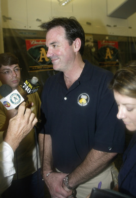 OAKLAND, CA - SEPTEMBER 23:  Billy Bean speaks to the media after the game between the Texas Rangers and the Oakland A's at the Network Associates Coliseum on September 23, 2003 in Oakland, California.  The Athletics defeated the Rangers 4-3.  (Photo by J