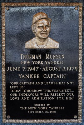 NEW YORK - MAY 02:  The plaque of Thurman Munson is seen in Monument Park at Yankee Stadium prior to game between the New York Yankees and the Chicago White Sox on May 2, 2010 in the Bronx borough of New York City. The Yankees defeated the White Sox 12-3.