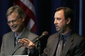 SAN FRANCISCO - JULY 06:  San Francisco Chronicle reporters Mark Fainaru-Wada (R) and Lance Williams (L) speak about their book 'Game of Shadows' July 6, 2006 at the Commonwealth Club in San Francisco, California. Fainaru-Wada and Williams could face jail