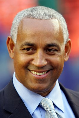 NEW YORK - APRIL 3:  Omar Minaya, Executive Vice President of Baseball Operations and General Manager of the New York Mets, is seen before the New York Mets Home Opener against the Washington Nationals on April 3, 2006 at Shea Stadium in the Flushing neig