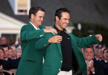 AUGUSTA, GA - APRIL 13:  Trevor Immelman of South Africa has a green jacket placed on him by Zach Johnson after winning the 2008 Masters Tournament at Augusta National Golf Club on April 13, 2008 in Augusta, Georgia.  (Photo by Andy Lyons/Getty Images for
