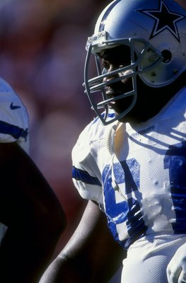 15 Nov 1998:  Guard Nate Newton #61 of the Dallas Cowboys looks on during the game against the Arizona Cardinals at the Sun Devil Stadium in Tempe, Arizona. The Cowboys defeated the Cardinals 35-28. Mandatory Credit: Brian Bahr  /Allsport