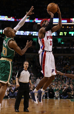 BOSTON - MARCH 15:  Richard Hamilton #32 of the Detroit Pistons takes a shot as Ray Allen #20 of the Boston Celtics defends on March 15, 2010 at the TD Garden in Boston, Massachusetts.  NOTE TO USER: User expressly acknowledges and agrees that, by downloa